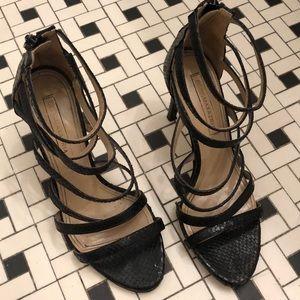 BCBG Black Snake Print Heels